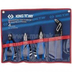 Набор пассатижей, плоскогубцев и бокорезов, 4 предмета KING TONY 42104GP01