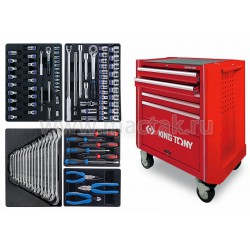 Набор инструментов в красной тележке, 204 предмета KING TONY 934A-100MR-MA