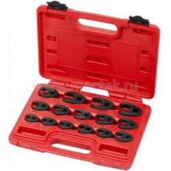 """Набор разрезных ключей 3/8""""&1/2"""" (воронья лапка), 8-24 мм, кейс, 15 предметов МАСТАК 0261-15C"""